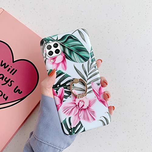 Coque pour Huawei P40 Lite Silicone Coque avec Support Bague Fleur Feuilles Motif Souple Coque Silicone Gel TPU Case Cover Housse Étui de Protection Ultra Mince Anti-Rayures Bumper Case,Fleur rose