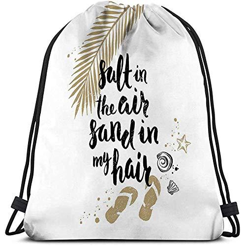 Arvolas Kordelzug Sporttasche Rucksack Sommerferien Urlaub Salz Luft Sand Mein Haar Hand gezeichnete handschriftliche Kalligraphie Zitate