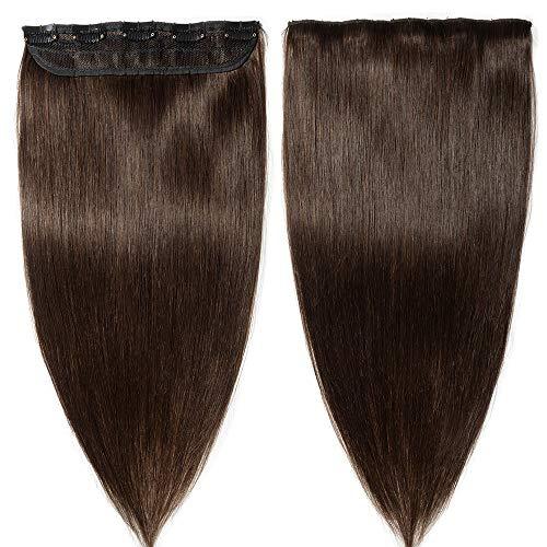 Extensions Echthaar Clip In 1 Stück Haarverlängerung Remy Echthaar (30cm-40g #2 dunkelbraun)