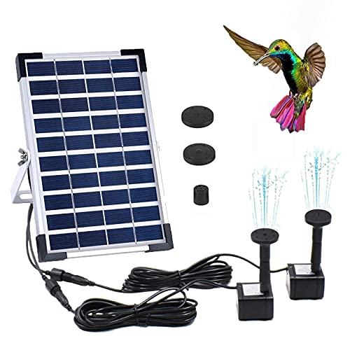 Bomba de Agua Solar de 5 W, características de Agua para el jardín, 2 Soportes para boquillas, Bombas solares para estanques, para baño de pájaros, pecera, decoración de jardín