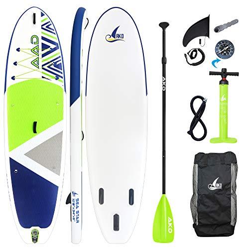 """AKD Germany Seastar 10'8"""" Stand Up Paddle Board 325 x86 x15cm (Verde), Inflable, Paleta Deportiva de Aluminio Ajustable, Bomba de Alta presión con manómetro, Mochila y Correa"""