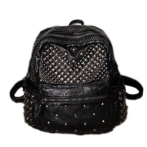 DokinReich Damen Rucksack PU Leder Rucksack Damen Leder Tasche Backpack Schulrucksack mit Mode Nieten Design für Mädchen (Schwarz)