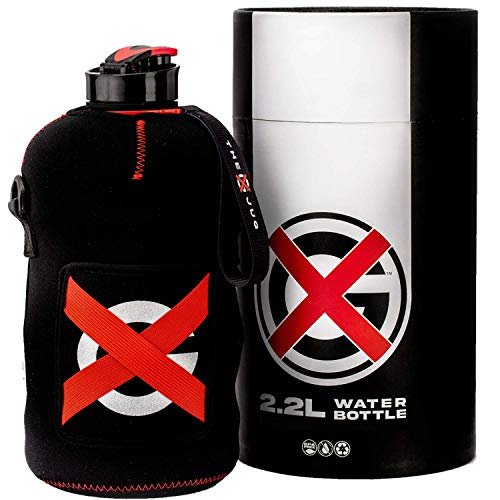 The GX Jug 2.2L Water Bottle with Sleeve | Half Gallon Sports Jug with Pocket Storage Carry Strap and Cleaning Sponge for Gym Sports Indoor Outdoors Camping Hiking Gift Durable Reusable BPA Free
