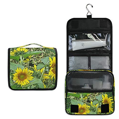Sunflower Bloom Helianthus Trousse de toilette de voyage Trousse de maquillage à suspendre Sac multifonction Sac de rangement portable Sac de toilette pour femme fille