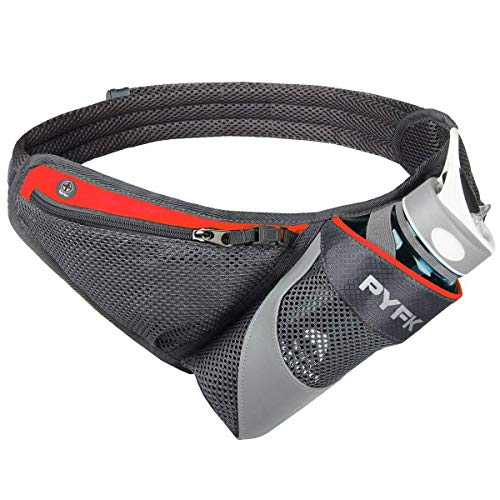 PYFK Running Belt Hydration Waist Pack with Water Bottle Holder for Men Women Waist Pouch Fanny Bag Reflective (Orange)