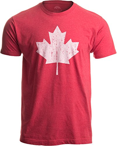 Canada Pride | Vintage Style, Retro-Feel Canadian Maple Leaf Unisex T-Shirt-Adult,XL Heather Red