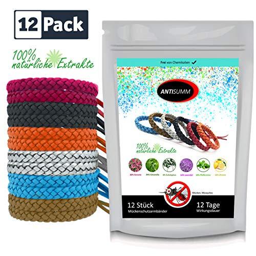 ANTISUMM 12 Stück Mückenschutz Armband Leder Family Pack | Abwehr & Schutz gegen Mücken und Mosquitos mit natürlichen Extrakten | Camping und Angel Zubehör | Insektenschutz für Kinder und Erwachsene