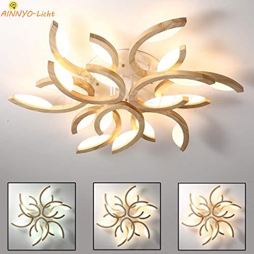 Holz LED Blume-Form Deckenleuchte Wohnzimmer-Lampe, Ultradünne Dimmbar 9-flammig Deckenlampe, Ø85cm Modern Wood Deckenlicht mit Fernbedienung, Schlafzimmer Decke Leuchen, 7100 LM, 1 Jahr Garantie