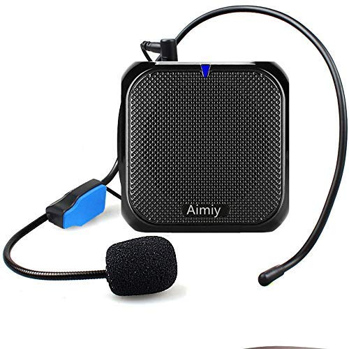 AIMIY Voice Amplifier for Elderly Neck Wired Headset Microphone Support /MP3/TF Card for Shopping Guide, Tour Guides, Presentations, Costumes Coaches, 10W Long Battery Life