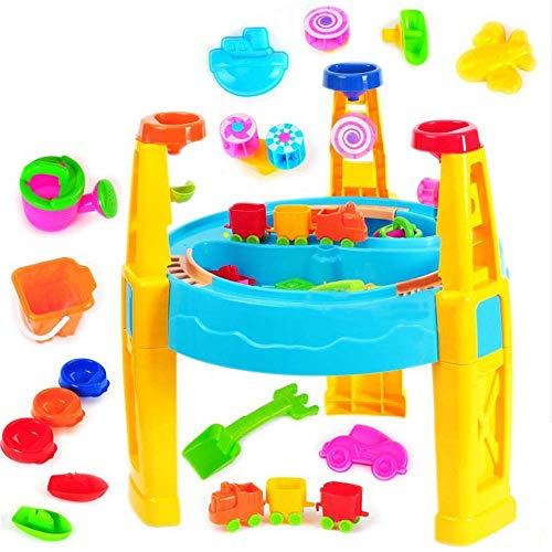 Tägliche Ausrüstung Strandspielzeug Sand- und Wassertisch Strandspielzeugset Tischschlossbau Spielzeugset für Kinder Strandeimer Set mit Formen Eimer Schaufeln Rechen Rollenspiel Pool Sandbox Spiel