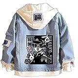 Tokisaki Toilet-Bound Hanako-kun Nene Yashiro Costume Yugi Amane Hooded Jacket Cosplay for Men Trucker Jacket Woman Denim Jacket (XL, Hanako-kun -11)