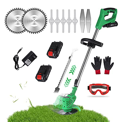 Cordless Electric Grass Trimmer, Household 21V Lawn Mower Portable Stretchable Lawn Trimmer Edger for Lawn Trimming, Lawn Care, Driveway & Pathway Edging,2X Battery