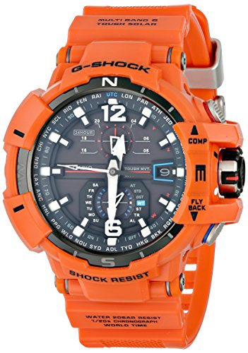 Casio GWA1100R-4A Men's G-Shock Aviation Gravitymaster Black Dial Orange Resin Strap Chronograph Dive Watch