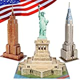 CubicFun 3D Puzzle for Kids New York Cityline Landmark Architecture Building Model Kits for Adults, Puzzles for Kids Ages 8-10, Statue of Liberty, Empire State Building, Chrysler Building, 77 Pieces