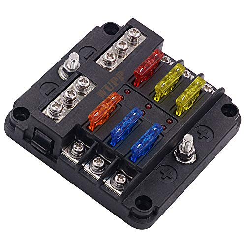 WUPP 12 Volt Fuse Block, Waterproof Boat Fuse Panel with LED Warning Indicator Damp-Proof Cover - 6 Circuits with Negative Bus Fuse Box for Car Marine RV Truck DC 12-24V, Fuses Included
