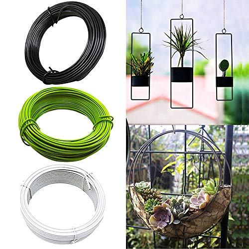 UXTX 20m/ 2.5mm Plastic Coated Garden Wire Coil, Plastic Coated Wire Ties Twist Ties, Garden Ties for Climbing Plants Wire, for Plant Tree Support Gardening Binding Wire Flower DIY (Green)