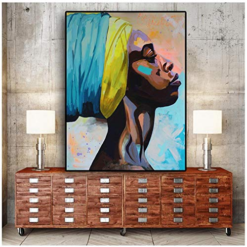Jykrjcc Contemplator Pintura Al Óleo Negra Africana Sobre Lienzo, Carteles E Impresiones, Imagen De Pared De Arte Pop Escandinavo Para Sala De Estar (60X80 Cm) Sin Marco