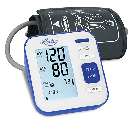 Lovia Blood Pressure Monitor - Automatic Upper Arm Machine & Digital Adjustable Digital BP Cuff Kit, Pulse Rate Monitoring Meter with Cuff 8.7-15.7inch,120 Sets Memory, Backlit Display