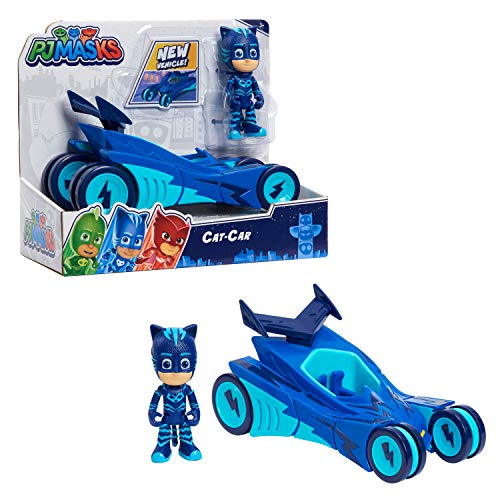 PJ Masks Catboy & Cat-Car, Articulated Action Figure and Vehicle, Blue by Just Play