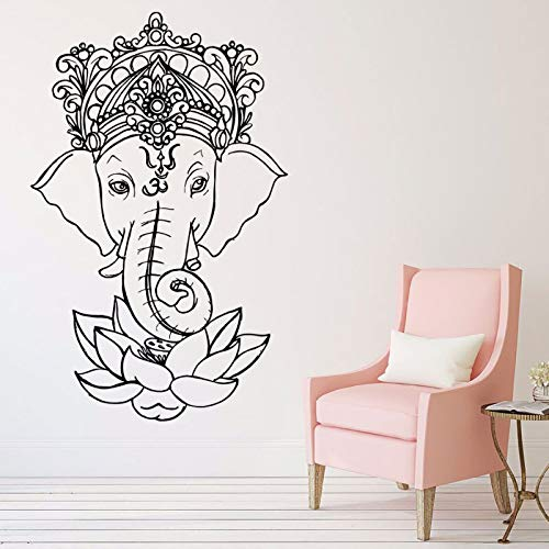zhuziji Wandbilder Sticker Wein , Elefant S Ganesh Stammes Buddha Lotus India Elefant Stickervinyl...