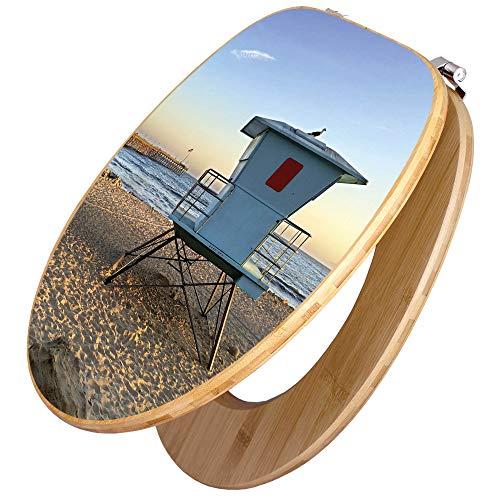 BANJADO Design Toilettensitz in Bambus, WC-Sitz Holz Bambus 44x38x5cm, Klodeckel mit Universal Scharnieren, Toilettendeckel mit Motiv Rettungsturm