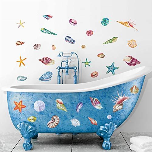 decalmile Sea Shells and Starfish Wall Decals Ocean Beach Wall Stickers Bathroom Shower Room Wall Decor