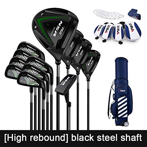 YPSMCYL Golfschlägerset Für Herren Und Damen Carbon-Golfschläger Für Einsteiger/Professioneller Stahl-Golfschläger Pink 1143 Mm Flex S/R (Herren Und Damen),Black-steelshaft
