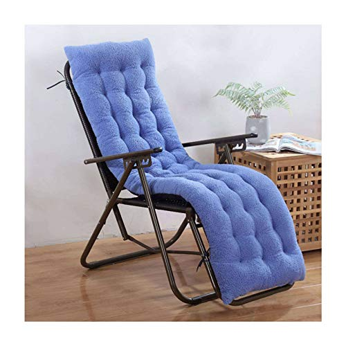 JLWM Chair Pad for Recliner Rocking Chair Seat Cushion Solid Color Velvet Seat Pad Chair Cushion with Straps Thicken Extra Soft Garden Balcony Floor-blue-48x160cm