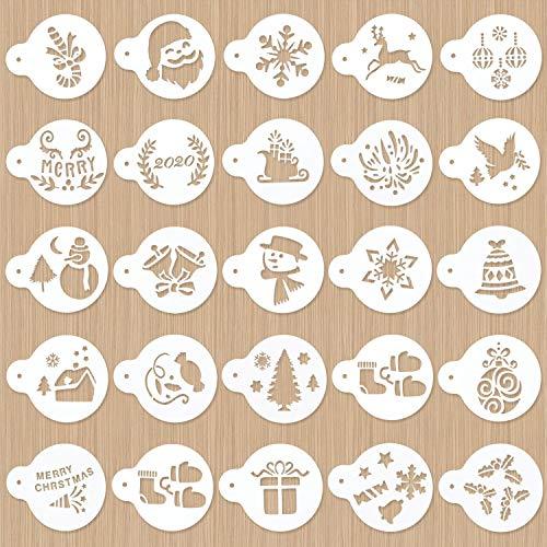 Peirich 24 Stück Weihnachtsdekoration Schablonenset, dekorative Schablonen Kuchen Werkzeug Cutter Prägeform für Kekse (Weihnachtsbaum, Glocken, Schneemann, Elch)