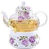 EEYZD UMITEASETS - Set da tè per Uno - Teiera Rosa Viola con scaldino - Servizio da tè in Porcellana per Uno