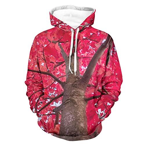 Niersensea Sudadera con capucha para niños y niñas, de arce rojo, otoño, hojas, hojas, flores, digital, básica, con capucha, Unisex adulto, Blanco, small