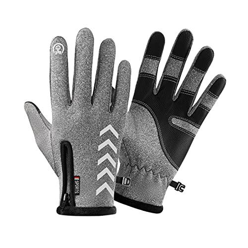 Tuelaly 1 par de guantes térmicos, guantes cálidos de piel sintética, resistentes al viento, antideslizantes, guantes de pantalla táctil para snowboard, senderismo, deportes al aire libre, color gris