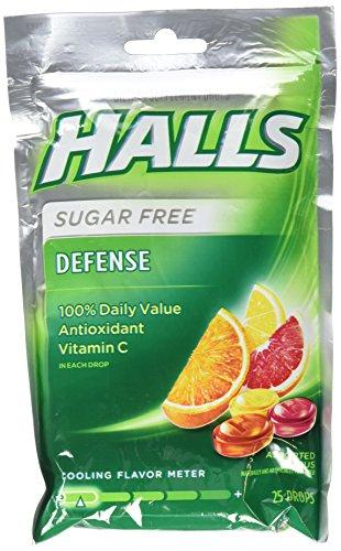Halls Defense Assorted Citrus Sugar Free 25 Drops - SET of 3
