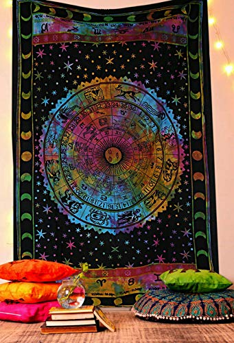 GDONLINE Multi Color Zodiac Astrology Horoscope Tapestry Indian Astrology Hippie Wall Hanging Ethnic Decorative Art Celtic Zodiac Tapestry Collage Dorm Décor Tapestry Cotton Handmade Tapestry