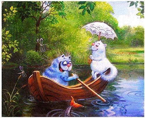 ölgemälde malen nach zahlen 2 kätzchen zeichnen ein boot diy ölgemälde zahlen tier bilder leinwand gemälde für wohnzimmer wandkunst weihnachtsdekor geschenke 40x50 cm zbsp503 DIY digitale Malerei