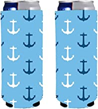 Anchor Pattern Neoprene Collapsible Slim 12oz Can Coolie (2)