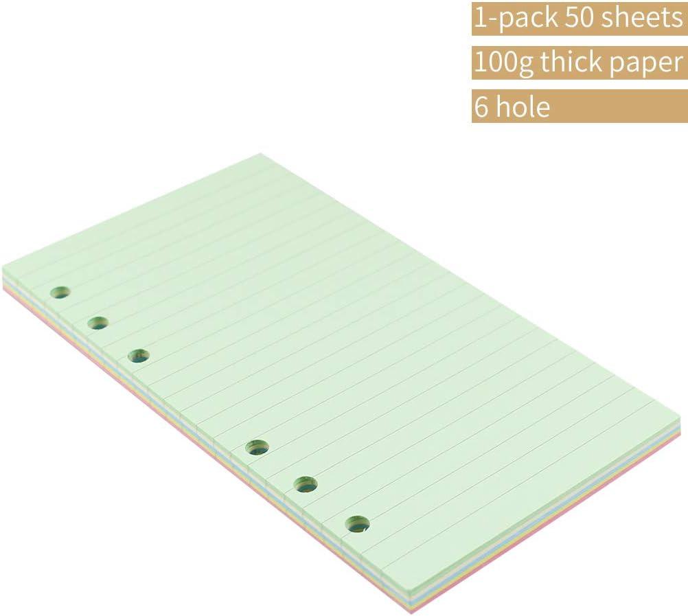 Inserti colorati A6 a 6 fori a righe per raccoglitore organizzatore di dimensioni personali a righe 3 3//4 x 6 3//4 5 colori sciolti fogli fogli fogli fogli riempitivi 50 fogli//100 pagine