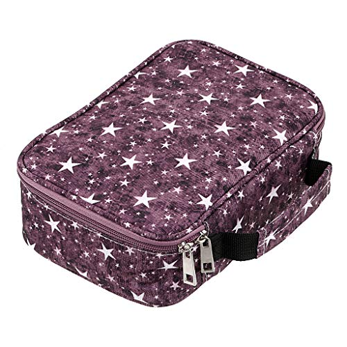 BTSKY New High Capacity Zipper Pens Pencil Case with Pattern-Multi-functional Stationery Pencil Pouch 36 Large Stretchy Slots for 72 Colored Pencils Star Purple