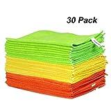 WORKPRO 30 Piezas- 3 Colores Bayetas de Limpieza Microfibra, Toallas Microfibra 80% Poliéster y 20% Poliamida para Coche y Cocina