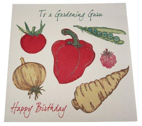 White Cotton Cards XLSB3 Code Garten Guru Happy Birthday verjaardagskaart, handgemaakt, groente gelden invoerprijzen