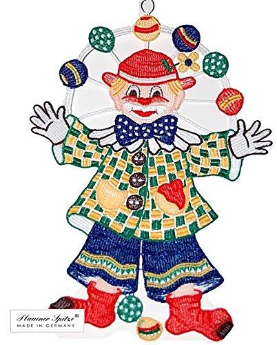 Plauener Spitze Fensterbild 22x31 cm + Saugnapf Stickerei Clown Fsching Karneval bunt Spitzenbild Kinderzimmer
