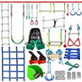 Ninja Warrior Obstacle Course for Kids - 2X50FT Double Ninja Slackline with Most Complete Accessories for Kids, Swing, Trapeze Swing, Rope Ladder, Obstacle Net Plus 1.2M Arm Trainer from Dripex