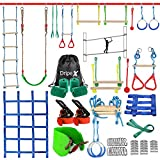 Ninja Warrior Obstacle Course for Kids - 2X50FT Double Ninja Slackline with Most Complete Accessories for Kids, Swing, Trapeze Swing, Rope Ladder, Obstacle Net Plus 1.2M Arm Trainer