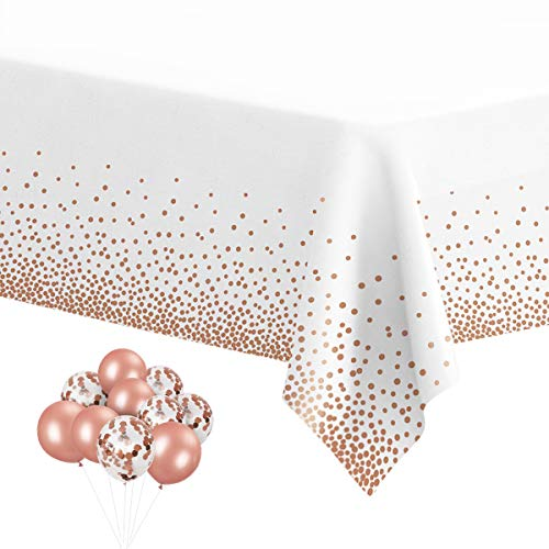 HOMIX Plastic Tablecloths for Rectangle Tables, 6 Pack Disposable Party Table Cloths, Rose Gold Dot Confetti Rectangular Table Covers with 30 Balloons for Parties Wedding Bridal Shower, 54 x 108
