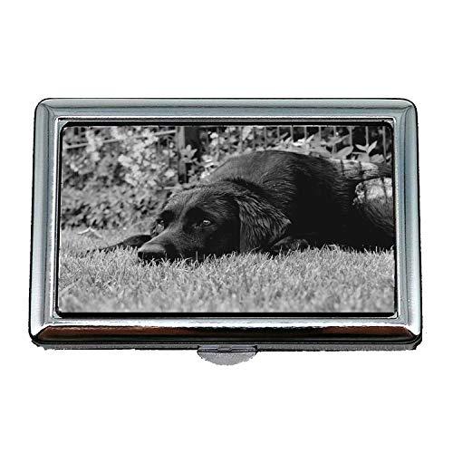 Zigarettenetui Box, Labrador schwarz und weiß Hund Entspannung Träume, Visitenkartenetui Visitenkartenetui Edelstahl
