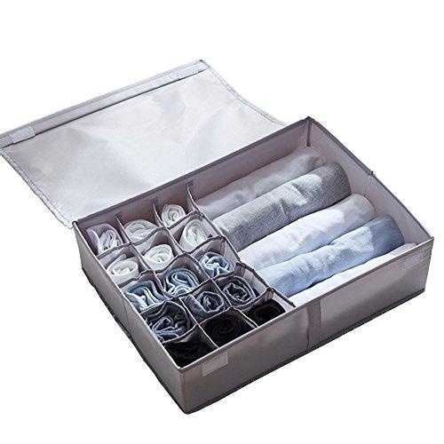 In kds Multifunktionale Faltbare tragbare Aufbewahrungsbox Kommode Schublade Schrank Unterwäsche Organizer mit staubdichtem Deckel grau
