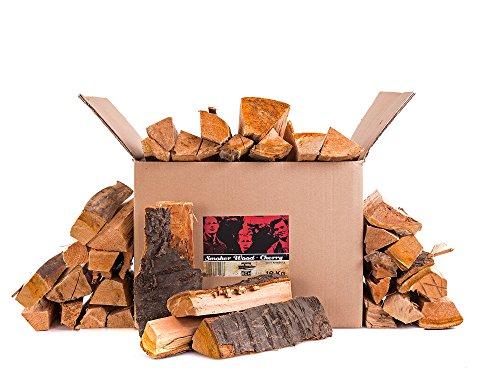 Axtschlag Räucherholz Kirsche, 10 kg sortenreines Smoker Wood mit Rinde, Scheitholz mit ca. 25 cm Länge für Räucheröfen, größere Kohlegrills und Smoker