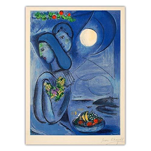 WJWGP Marc Chagall Saint Jean cap Ferrat Canvas Oil Painting Abstract Art Poster Print Blue Classic Wall Art Quadro Modern Home Decoration 40x60cm No Frame