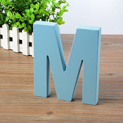 Wandbuchstaben aus Holz A-Z, blaue Deko-Wandbuchstabe für Kinderzimmer, Babyzimmer, Baby-Name, Mädchen-Schlafzimmer M