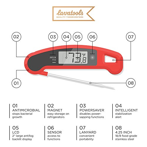 Lavatools Javelin PRO Duo Ambidextrous Backlit Professional Digital Instant Read Meat Thermometer for Kitchen, Food Cooking, Grill, BBQ, Smoker, Candy, Brewing, Coffee, and Oil Deep Frying (Sesame)